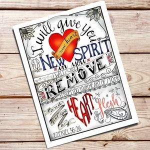 Typography Art Print of Bible Verse Ezekiel 36:26